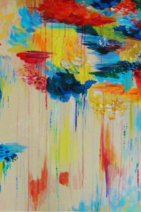 CUSTOM Abstract Acrylic Painting HUGE 30 x 30 Vancouver FREE Shipping Rain Colorful Rainbow Rainy Storm Cloud Canada Gift Art Wow