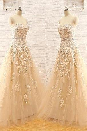 New Arrival A Line Custom Made Sweetheart Strapless Elegant Tulle Lace Light Champagne Wedding Dress, Wedding Gown Bridal Dress ,Wedding Dresses, Charming A-Line Wedding Dress ,Ball Gown Wedding Dress