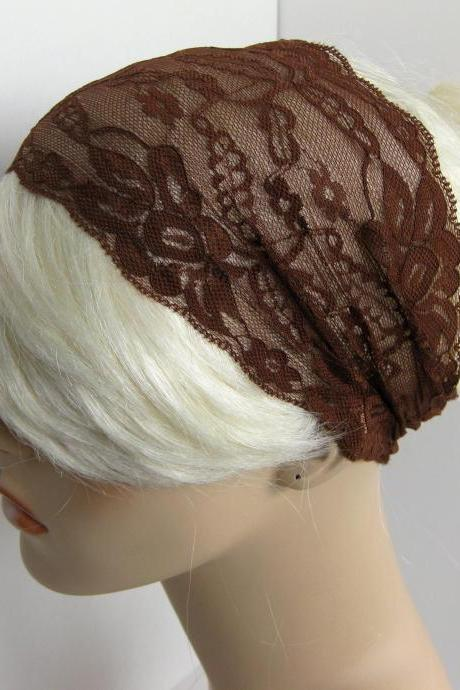 Wide Stretch Lace Headband Chocolate Brown Head Wrap Women's Hairband Traditional Head Covering