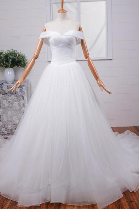 Vintage White/Ivory Cap Sleeve Sweep Train Wedding Dress Handmade Tulle Ruffles A-line Bridal Gown