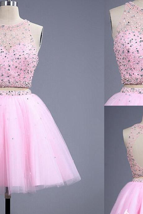 HG312 Charming Homecoming Dress,Beading Homecoming Dress,Crystal Homecoming Dress,Mini Homecoming Dress,Modest Homecoming Dress,Pink Homecoming Dress,Organza Homecoming Dress,Sleeveless Homecoming Dress,Two Piece Homecoming Dress
