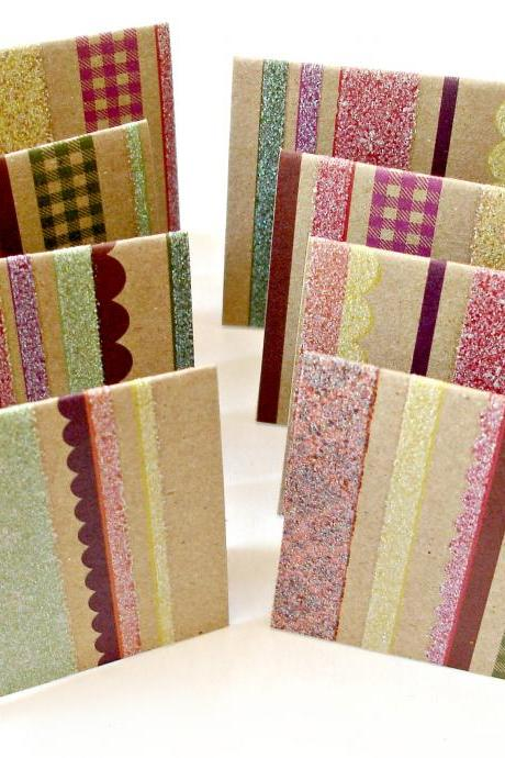 Kraft mini note cards in glitter and stripes pattern Set of 8 handmade mini cards gift cards note cards
