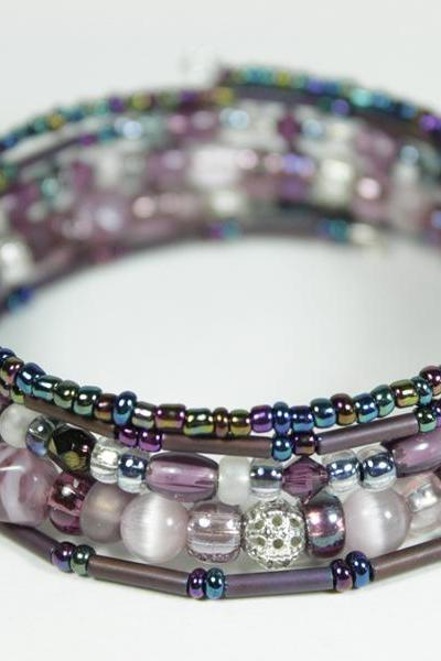 purple beaded memory wire bracelet
