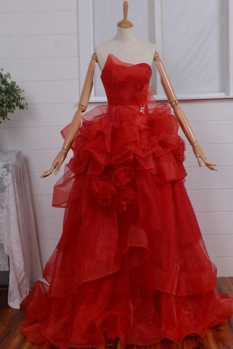 Red Organza Prom Dress 2015 Fashion Empire off the shoulder Sweetheart Long Prom Dresses Floor-length Elegant Women Formal Dresses