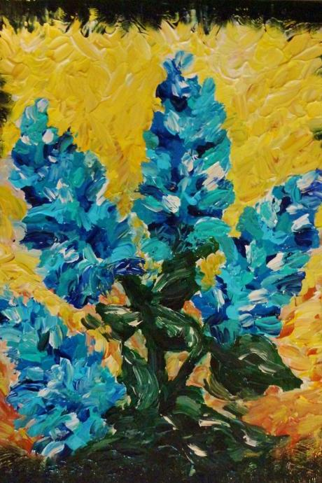 Original OOAK Painting Blue Shades of Bloom FREE SHIPPING Abstract Impasto Floral Acrylic Modern Art 16 x 20 Beautiful Turquoise Green Yellow