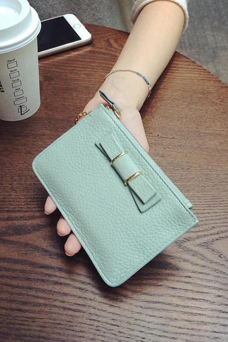 The new small fresh short paragraph Slim leather wallet women's zipper leather coin purse