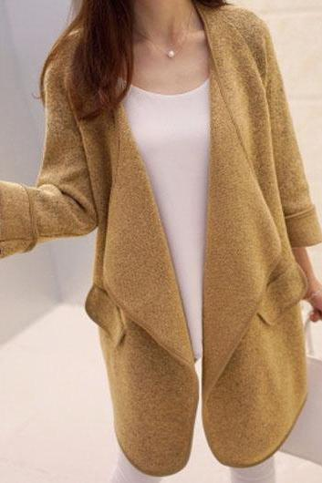 Charming Long Sleeve Pocket Design Coats (2 Colors)