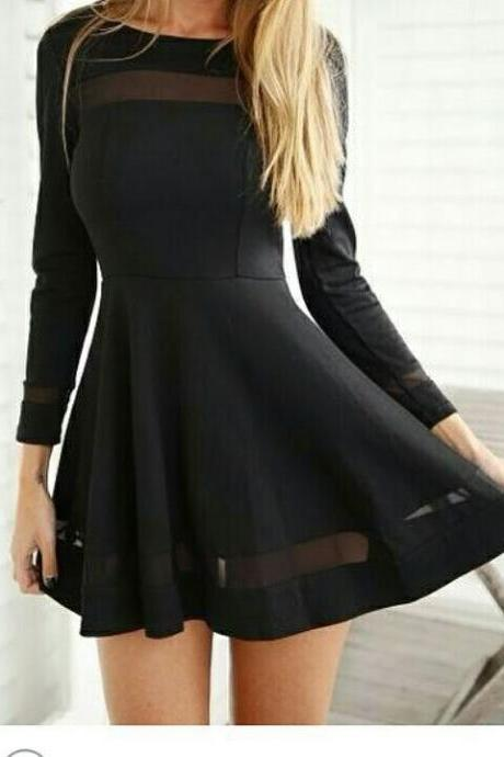 CUTE LONG SLEEVE NET SHOW BODY SEXY FRESH DRESS