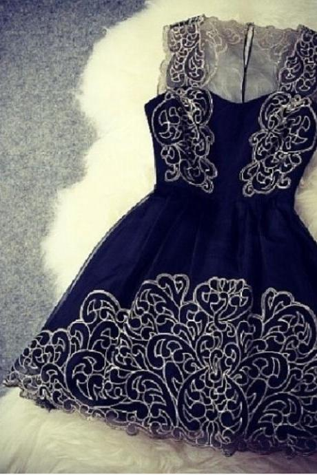 Navy color Lace Dress