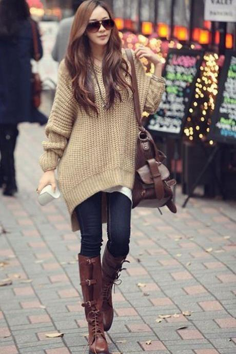 Fashionable Loose Apricot Sweater Loose Autumn Sweater