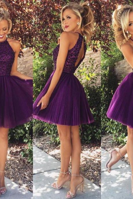 Dark Purple Tulle Halter Knee Length A Line Beaded Short Homecoming Dress Elegant Dress Prom Short Open Back Sexy Cocktail Dresses