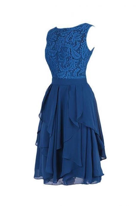 New Style Royal Blue Chiffon With Lace Top Short Homecoming Dress Boat Neck Sleeveless Cocktail Dresses V Back Knee Length Short Dress Prom Graduation Dresses