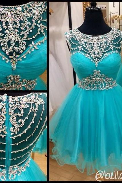 Boat Neck Blue Tulle Sheer A Line Knee Length Beaded Sexy Elegant Short Prom Dress