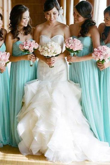 Long Empire Chiffon Bridesmaid Dress,Floor Length Light Blue Sweetheart Chiffon Bridesmaid Dresses,Mismatch Maid Of Honor Dress Girls Group Dress Cheap Prom Dress