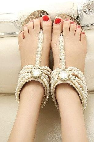 Newest 2015 Women Summer Bohemia Handmade Beaded Flats Shoes Female Sandals Fashion Pearl Rhinestone wedding Flat Sandals