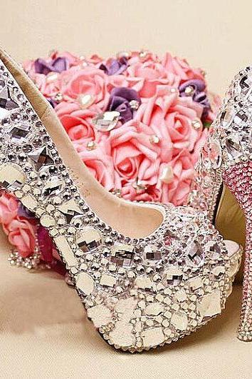 Clearl crystal Bridal Shoes gems high heels wedding shoes Sparkling peep Toes Nightclub party Shoes