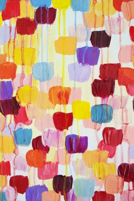 Original Dotty Abstract Acrylic Painting Polka Dot FREE SHIPPING 11 x 14 Wow Colorful Autumn Art Fall Christmas Gift Home Decor Bold Style
