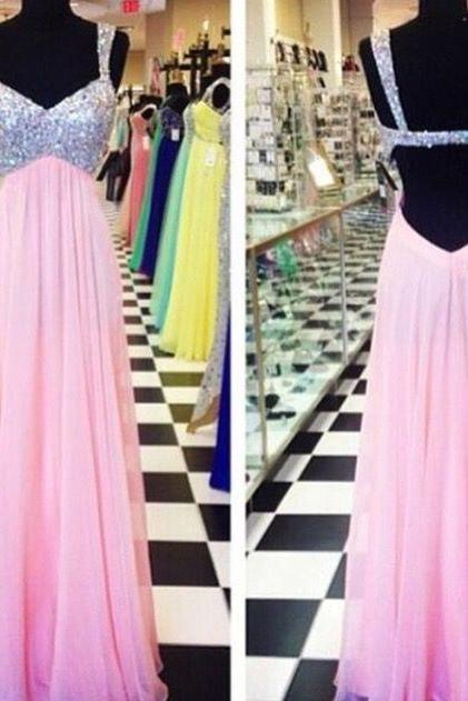 Custom Made A Line Backless Long Pink Prom Dresses, Pink Backless Party/ Formal Dresses