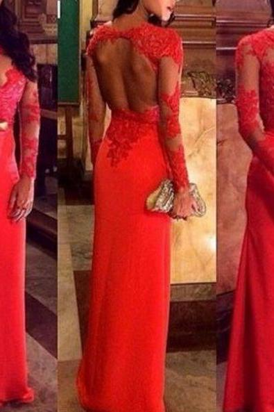 Red Long prom dress, Round Neck Long Prom Dresses,long sleeves prom dress,red lace prom dress,high quality prom dress, Elegant Women dress,Party dress Applique Evening Dress L224