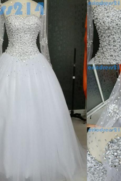Luxury Crystal White Wedding Dress ,Long Sleeve Ball Gown Tulle Wedding Dress,Floor Length Scoop Beaded Wedding Gown,Crystal Evening Gown Prom Dress