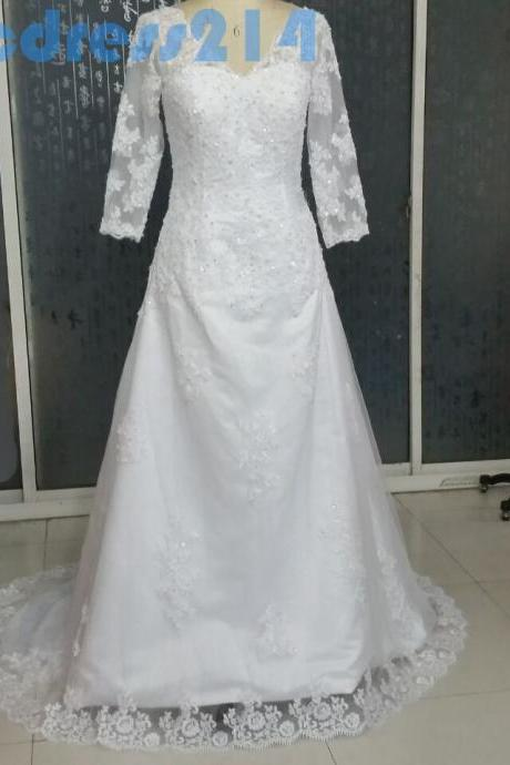 Vintage White V Neck Wedding Dress 2015,Half Sleeve Wedding Dress With Lace Appliques ,Floor Length Tulle Beaded Wedding Gown,Formal Evening Gown Prom Dress