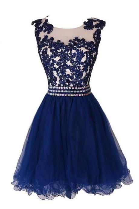 Navy Blue Lace Short Prom Dress Homecoming Dresses With Waist Beadings,Royal Blue Custom Made Mini Length Wedding Party Dress Gown Women Skirt