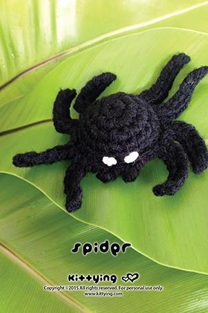 Crochet Pattern Halloween Spider Amigurumi Spider Applique Halloween Accessories Spider Brooch Spider Crochet Pattern Spider Accessory