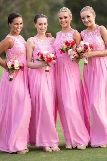Elegant Lace Sheer Neck Pink Bridesmaid Dress,Floor Length A Line Chiffon Bridesmaid Dresses, Long Cheap Prom Dresses Party Evening Gown