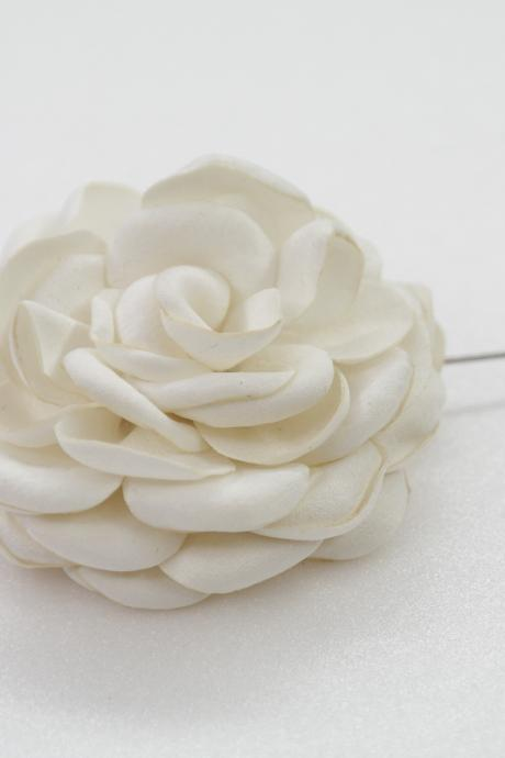 60mm Satin Rose Burned flower Mens Boutonniere/Buttonhole For Wedding,Lapel Pin,Hat Pin,Tie Pin