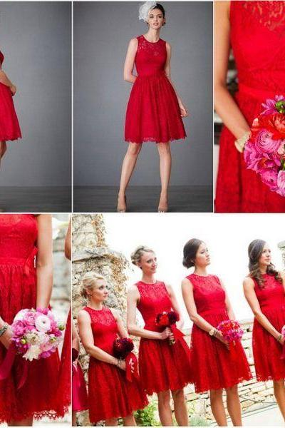 2015 Red Lace Short Junior Bridesmaid Dresses Sleeveless A Line Knee Length Ribbon Trim Keyhole Back Short Maid of Honor Gowns Free Shipping