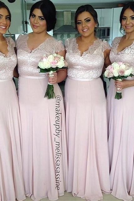 2017 Cheap Bridesmaid Dresses with V Neck Short Sleeve A Line Lace Top Hot Pink Formal Prom Dress New Arrival Party Gown Free Shipping