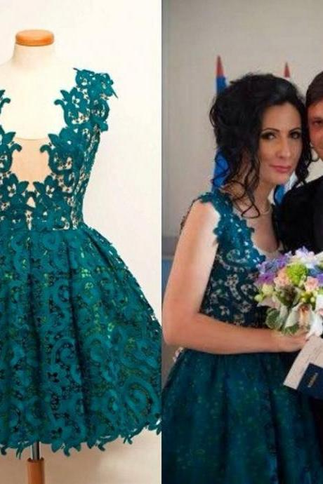 2016 Lace Ball Gown Short Homecoming Dresses ,Dark Green Lace Prom Dresses, Square Neck Graduation Dresses ,Cocktail Party Gowns