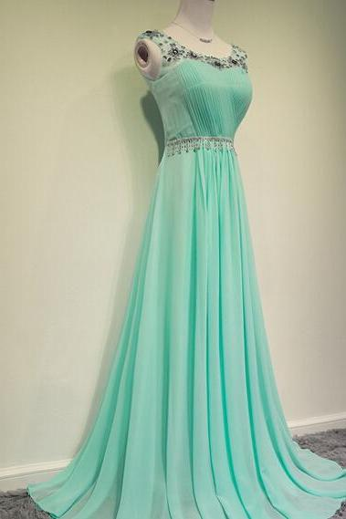 Simple Fashion Pretty MInt Chiffon A Line Formal Prom Dress With Beading,Long Prom Gowns,Evening Dress 2015,Dress For Prom,Charming Graduation Dress/Party Dress,