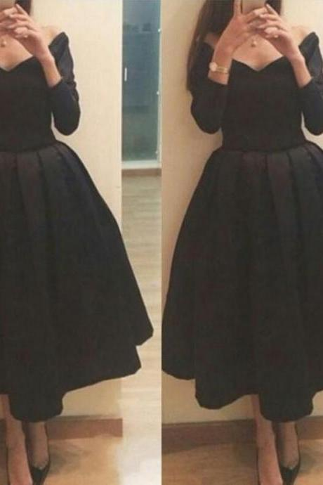 Pretty Off Shoulder Black Tea Length Formal Dresses Evening Dresses ,Black Prom Dresses, Dinner Dresses