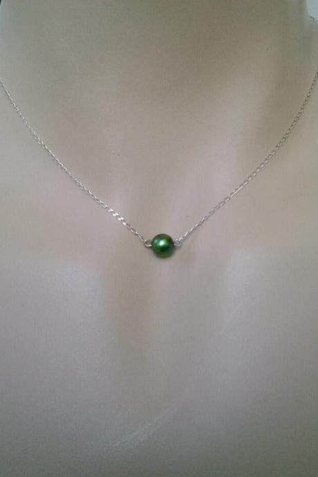 Green Freshwater Pearl pendant Necklace - single green pearl necklace - sterling silver chain