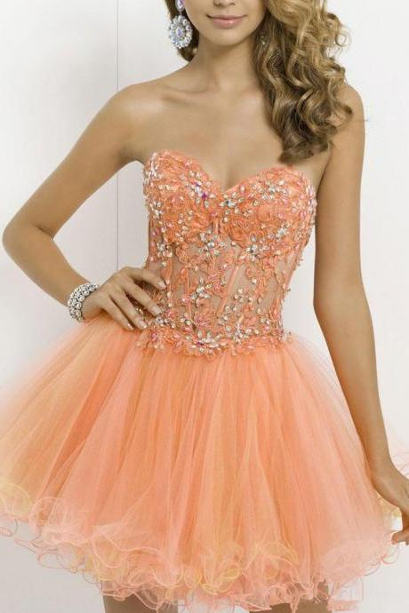 New Sexy Homecoming Dresses,Sweetheart Homecoming Dresses,Crystals Homecoming Dresses, Lace Homecoming Dresses,Tulle Homecoming Dresses,Homecoming Dresses,Ruffles Short Mini Homecoming Dresses, Prom Gowns Custom Made