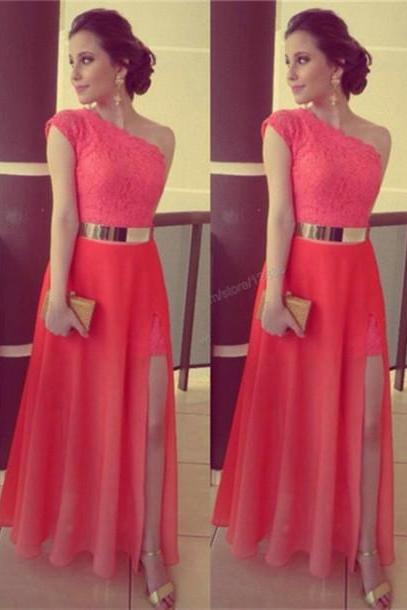 One-Shoulder Red Prom Dress ,Lace Prom Dress,long prom dress,high quality prom dress, Elegant Women dress,Party dress Evening Gowns L234