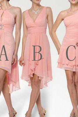 Peach Bridesmaid Dress, Short Bridesmaid Dress ,mismatched bridesmaid dress ,simple bridesmaid dress