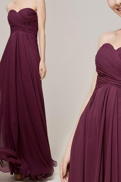 Burgundy Chiffon Ruched Sweetheart Floor Length A-Line Bridesmaid Dress, Formal Dress