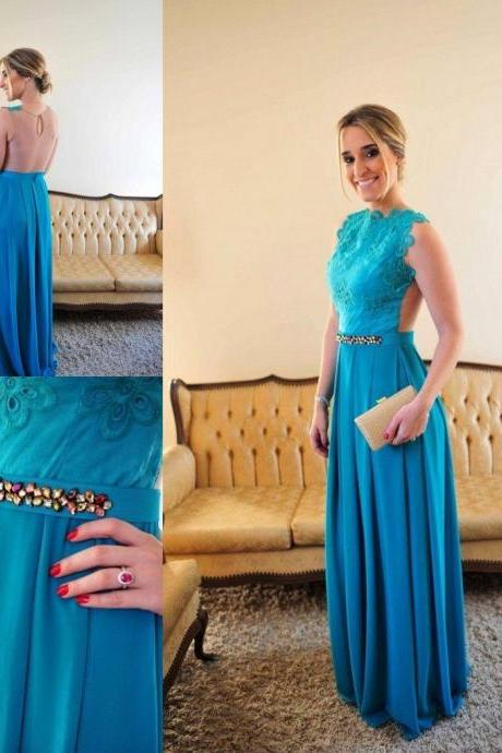 Blue Lace Appliques Long Evening Dress Chiffon High Neck Crystal illusion Back Formal Prom Dresses 2015 Vestidos de fiesta Free Shipping