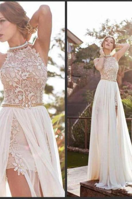 Vintage Beach Prom Dresses High Neck Beaded Crystals Lace Applique Floor Length Side Slit Evening Gowns