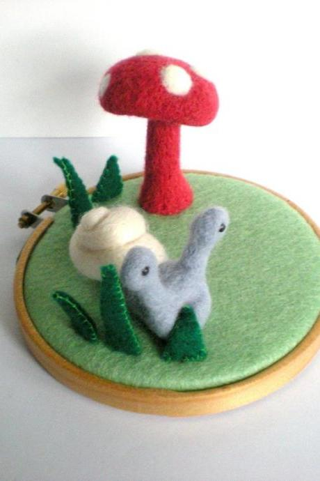 The Snail and The Toadstool - Needle Felted Woodland Sculpture