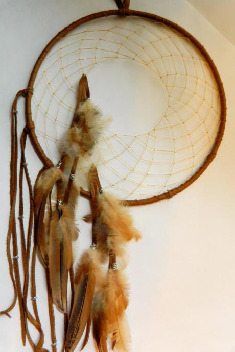 Earth Toned Leather Dream Catcher