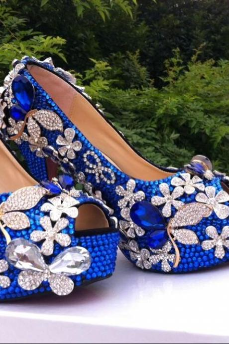Luxury Peacock Blue floral Diamond Bridal Weddding Shoes high heels rhinestone platform Prom pumps