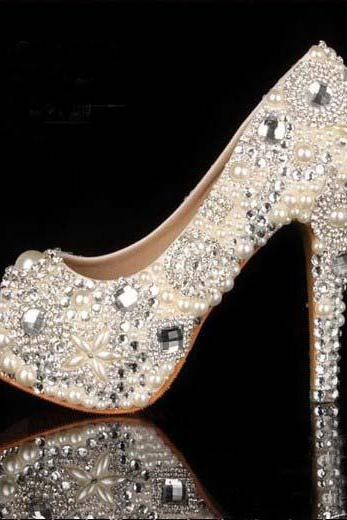 e35e5c87fc1d94 2015 Unique Ivory Pearl Rhinestone Wedding dress Shoes Peep Toe High Heeled Bridal  Shoes Waterproof Woman