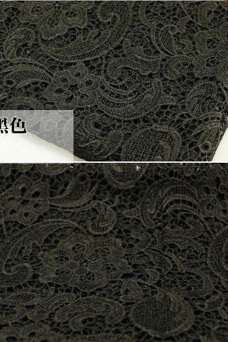 Black Embroidered Cord Lace Fabric For Women Dresses Water Soluble Guipure Lace 120 cm Width