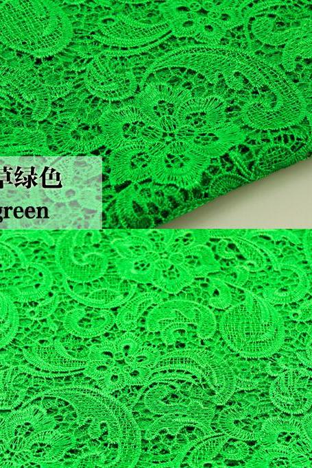 Green Cord Lace Fabric For Women Dresses Water Soluble Guipure Lace 120 cm Width