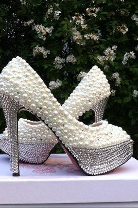 Women Pearl White Bridal Wedding Shoes Crystal Rhionestones Red Bottom Sexy High Heels Party Platform Pumps