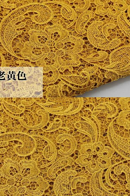 Gold Color Cord Lace Fabric For Women Dresses Water Soluble Guipure Lace 120 cm Width