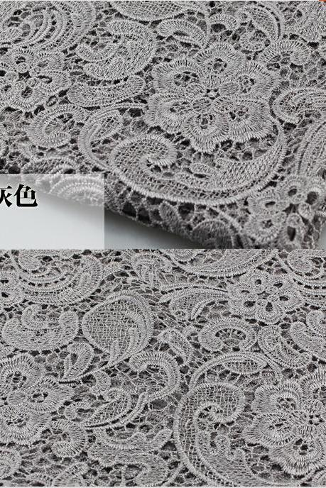 Gray Color Cord Lace Fabric For Women Dresses Water Soluble Guipure Lace 120 cm Width